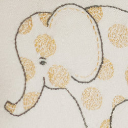 Taylor Linens - Elephant Pillow - Who could resist these adorable little creatures? Perfect for the baby's room (or a baby shower), they are embroidered on a 10-inch pillow backed with a yellow print fabric. Comes complete with a long-lasting, non-allergenic cluster fiber insert.