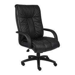 BossChair - Boss Italian Leather High Back Executive Chair with Knee Tilt - Italian executive leather chair. Beautifully upholstered with imported Italian top grain Leather. Executive High Back styling with extra lumbar support. Pneumatic gas lift seat height adjustment. Adjustable tilt tension control. Upright locking position. Leather upholstered armrests. Large 27 nylon base for greater stability. Hooded double wheel casters. Comes standard with knee-tilt mechanism. Matching guest chair model (B9309).