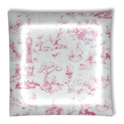 "Pink Toile Nursery Girls Ceiling Light - 12"" square semi flushmount ceiling lamp with designer finish. Includes complete installation instructions and complete light fixture. Wipes clean with a damp cloth. Uses 2-60 watt bulbs (not included) and is made with eco-friendly/non-toxic products. This is not a licensed product, but is made with fully licensed products."