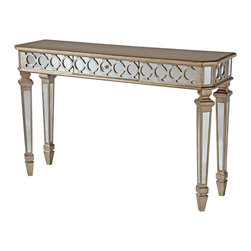 None - Mikala Mirrored Console Table with Center Drawer - Mirroring and geometric patterns give the Mikala console table an upscale look. Including a convenient center drawer,this mirrored console is glamorous with its deluxe shaped four sided legs and aged gold metallic finish.