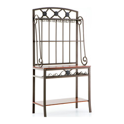 "Holly & Martin - Rockford Baker's Rack with Wine Storage - An excellent addition to any kitchen, this coffee brown baker's rack not only puts things in a good location, but it also provides storage for those hard to place items. The rectangular metal frame provides a rigid construction while incorporating lovely decorative scrolls on either side. There is a bottom shelf that sits just 6"" off the floor measuring 15"" deep, 34"" wide, and 16"" tall as well as a tabletop working surface that is 15"" tall, 15.5"" deep and 34"" wide. Both of which are finished with a rich mahogany stain. A wonderful 6 bottle wine rack directly beneath it also enhances the main working surface. The upper two 8"" deep shelves have inlaid clear glass to provide a beautiful display area. The top shelf also hosts a rack for wine glasses on the bottom side."