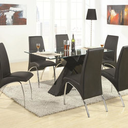 """Coaster Ophelia Dining Collection - This ultra modern Ophelia Collection by Coaster features cool contemporary design details that will leave their mark on all the guests who come into your home. Dining tables are decked out with faceted zigzag table bases or bold black or white """"X"""" bases topped off with cool glass table tops in simple geometric shapes. The intriguing shapes of the tables are accented by arched black vinyl chairs, curved into a shape reminiscent of high motion."""