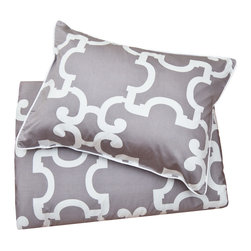 Crane & Canopy (www.craneandcanopy.com) - Geometric Print Duvet Cover, The Noe Gray - This gray and white Moroccan-inspired quatrefoil printed duvet has geometric sophistication.  300-thread count luxurious cotton with finishing details of edge piping, interior corner ties and zipper enclosures.