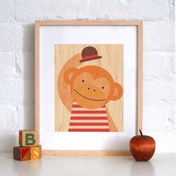 Petit Collage Hello Monkey - Print on Wood - Hello Monkey - Print on Wood