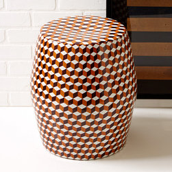 Tozai - Tessella Stool Designed by Fabienne Jouvin - In a room filled with solids, a garden stool is a perfect way to add a bit of pattern. It draws in the eye without being too distracting.