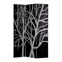 Tranquility Screen - The silhouette of bare trees is a timeless symbol of winter's minimalism. Whether you display the dark or light side of this elegant privacy shade, you'll be adding a sophisticated touch to your room. Treat it as traditional wall art or use it to hide that pile of paper work in high style.
