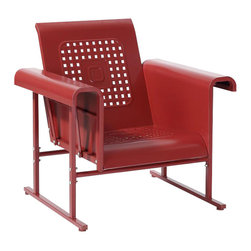 Crosley Furniture - Veranda Single Glider Chair in Coral Red - Sturdy Steel Construction. Easy To Assemble. UV Resistant. Smooth glide rocking mechanism. Indoor/Outdoor Construction. . 31 in. W x 33 in. D x 33 in. H (66 lbs.)