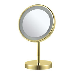 Nameek's - Free Standing 3x Makeup Mirror, Gold - This free standing makeup mirror has a single 8 inch face.