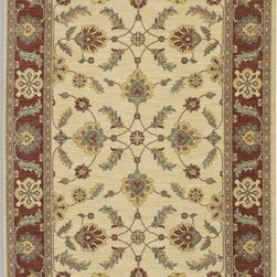 """Karastan - Karastan Sierra Mar 35505-33003 (Sedona Ivory Henna) 9'6"""" x 13'2"""" Rug - Comfortable, weathered, easy to live with color, is the signature style of the Sierra Mar collection, with relaxed patterns that complement both traditional and modern design. Woven in the U.S.A., the pure New Zealand worsted wool yarns have been specially twisted and space-dyed to create artful color 'stria' reminiscent of fine hand woven 'Peshawar' rugs."""