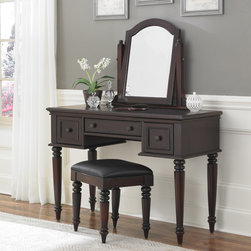 None - Bermuda Vanity and Bench - This white or espresso-finish vanity and bench set provides the ideal place to fix your hair and put on makeup before heading out. The lined drawers store your sensitive jewelry, keeping them damage free, and the mirror tilts to the perfect angle.