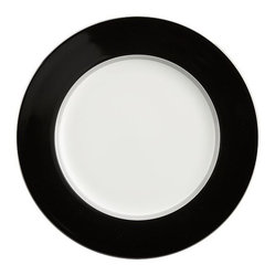 Tux Black Rim Salad Plate - Black pinstripes with platinum banding dress for dinner on fine bone china. Salad plate is offered in matching platinum or contrasting black for a classic tuxedo effect.