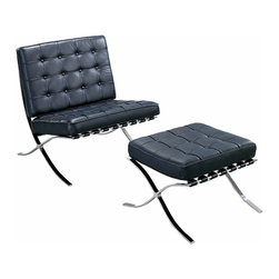 MODERN BLACK LEATHER LOUNGE CHAIR AND OTTOMAN MADRID - MODERN BLACK LEATHER LOUNGE CHAIR AND OTTOMAN MADRID