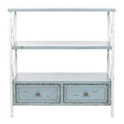 Safavieh - Chandra Console - Distressed Pale Blue/ White - Romantics will fall for Chandra's feminine wiles. The distressed French country white iron frame give Chandra a vintage charm, while three robin's egg blue shelves and two drawers add functionality to the mix. Minor assembly required.
