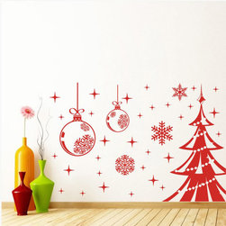 ColorfulHall Co., LTD - Family Tree Wall Decal Diy Christmas Balls And Tree With Stars, Red - Family Tree Wall Decal DIY Christmas Balls and Tree with Stars