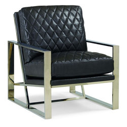 Schnadig - Caracole Welcome Back - The spirit of Mid-Century furniture design masters Milo Baughman, LeCorbusier, Marcel Breuer and Jens Resin returns in the architectural form of our metal framed chair. The Gold Bullion metal tone - a post-modern take on the returning popularity of brass adorns the box metal frame. Fashion-forward quilted leather in a deep slate hue is applied on the chair seat and back.