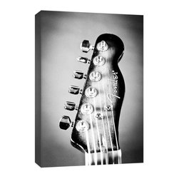 "Doodlefish - Electric Guitar Headstock - Doodlefish Electric Guitar Headstock Photograph comes in two sizes and is part of a collection of 5.  The photography is reproduced as a high quality canvas print (Giclee) that is wrapped around the edges of wooden stretcher bars making it ready to hang.  The finished size is 16"" wide by  24"" tall."