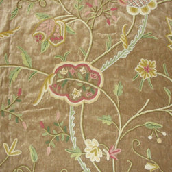 Crewel Fabric Lotus Sparrow Cotton Velvet- Yardage - Fabric Type: Cotton Velvet