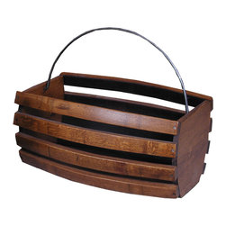 2-Day Designs - 2-Day Designs Large Storage Wine Basket - Use this beautiful oak wine basket to store or display everything from magazines to firewood. Uniquely crafted out of recycled barrel staves and done in a lovely pine finish, the large bin features a wrought-iron handle for easier transport.