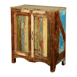 Sierra Living Concepts - Grandpa's Attic Reclaimed Wood Accent Cabinet - A cabinet built with the history of the past is the perfect place to display and keep today's treasures. The Grandpa's Attic Accent Cabinet can be used as a console. The hand crafted solid hardwood storage and display cupboard is built with reclaimed wood from Gujarat. The surface of the old wood is unaltered; it's been naturally seasoned over time and is authentically distressed.
