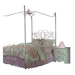 Standard Furniture - Standard Furniture Princess 2-Piece Kids' Canopy Bedroom Set in Pink Metal - Every little girl will be a princess with our frilly metal canopy princess bed as the focal point of her bedroom.
