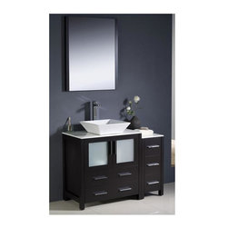 Fresca - Torino 42 in. Modern Bathroom Vanity w Vessel Sink (Tolerus Chrome) - Choose Included Faucet: Tolerus ChromeP-trap, Faucet, Pop-Up Drain and Installation Hardware Included. Single Hole Vessel Faucet Mount (Faucet Shown In Picture May No Longer Be Available So Please Check Compatible Faucet List). No overflow. Sink Color: White. Finish: Espresso. Sink Dimensions: 16 in. x16 in. x5 in. . Mirror: 25.5 in. W x 31.5 in. H x 1.25 in. D. Materials: Plywood w/ Veneer, Ceramic Sink. Vanity: 42 in. W x 18.13 in. D x 35.63 in. HFresca is pleased to usher in a new age of customization with the introduction of its Torino line. The frosted glass panels of the doors balance out the sleek and modern lines of Torino, making it fit perfectly in either Town or Country decor. Available in the rich finishes of Espresso, Glossy White and Light Oak, all of the vanities in the Torino line come with either a ceramic vessel bowl or the option of a sleek modern ceramic undermount sink.