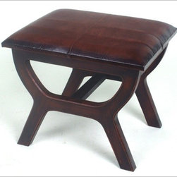 International Caravan - Stool with Wood Leg - Features: -Shape: Rectangular.-Beautiful rectangular bench trunk with ball feet.-Upholstered in faux leather.-Distressed: No.Dimensions: -17'' H x 16'' W x 20'' D, 18 lbs.-Overall Product Weight: 18 lbs.