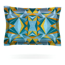 """Kess InHouse - Nika Martinez """"Abstraction Blue & Gold"""" Pillow Sham (Woven, 30"""" x 20"""") - Pairing your already chic duvet cover with playful pillow shams is the perfect way to tie your bedroom together. There are endless possibilities to feed your artistic palette with these imaginative pillow shams. It will looks so elegant you won't want ruin the masterpiece you have created when you go to bed. Not only are these pillow shams nice to look at they are also made from a high quality cotton blend. They are so soft that they will elevate your sleep up to level that is beyond Cloud 9. We always print our goods with the highest quality printing process in order to maintain the integrity of the art that you are adeptly displaying. This means that you won't have to worry about your art fading or your sham loosing it's freshness."""