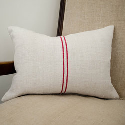 Red Stripe Grain Sack Pillow - I love vintage grain sacks. The natural hemp and the thin red stripes on this pillow will add wonderful texture to any sofa or chair.