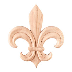 Hardware Resources - Maple Appliques Fleur-de-Lis Onlays and Appliques - Bring visual interest to flat areas with these lovely appliqués. Add your unique touch to a doorway, mantel, window or ceiling. Combine different onlays for endless possibilities and creative whimsy.