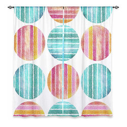 """DiaNoche Designs - Window Curtains Lined by Pom Graphic Design Circles Play - DiaNoche Designs works with artists from around the world to print their stunning works to many unique home decor items.  Purchasing window curtains just got easier and better! Create a designer look to any of your living spaces with our decorative and unique """"Lined Window Curtains."""" Perfect for the living room, dining room or bedroom, these artistic curtains are an easy and inexpensive way to add color and style when decorating your home.  This is a woven poly material that filters outside light and creates a privacy barrier.  Each package includes two easy-to-hang, 3 inch diameter pole-pocket curtain panels.  The width listed is the total measurement of the two panels.  Curtain rod sold separately. Easy care, machine wash cold, tumble dry low, iron low if needed.  Printed in the USA."""