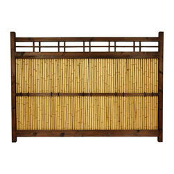Oriental Furniture - 4 ft. x 5 1/2 ft. Japanese Bamboo Kumo Fence - Authentic large Japanese bamboo decorative garden fence. Durable wood frame is finished in a dark walnut with visible natural wood grain. Bleached bamboo poles run the width of the center panel between lateral beams for added durability. Bring the peace and order of the Orient to your garden or yard.