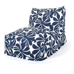 Majestic Home - Outdoor Navy Blue Plantation Bean Bag Chair Lounger - Add style and functionality to your living room, family room or outdoor patio with the Majestic Home Goods Bean Bag Chair Lounger. This Beanbag Chair has the design of modern furniture, while still giving the comfort of a classic bean bag. Woven from outdoor treated polyester, these loungers have up to 1000 hours of U.V. protection and are able to withstand all of natures elements. The beanbag inserts are eco-friendly by using up to 50% recycled polystyrene beads, and the removable zippered slipcovers are conveniently machine-washable.