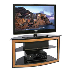 """Bello - Bello Wood and Metal Flat Panel/LCD/Plasma Corner TV Stand - Bello - TV Stands - AVSC2121 - With a curved front and angled back this contemporary furniture is designed to fit conveniently into a corner. Accented with a wood look front it is constructed of powder-coated scratch resistant metal and tempered deep black safety glass and will accommodate up to most 46"""" Flat Panel TVs and up to 4 or more audio video components and a center channel speaker. There is an integrated Bell'O CMS Cable Management System to hide wires and interconnect cables."""