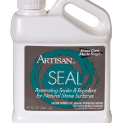 Artisan Marble & Granite - Artisan SEAL Penetrating Sealer & Repellent for Natural Stone Surfaces 32 oz - Artisan SEAL preserves the beauty of natural stone while providing optimum protection against oil and water based stains. An easy to apply water-based, penetrating sealer and oil repellent that helps to maintain an etch-free, stain-free surface. A must for polished marble, granite, limestone, shower walls, vanity counter tops and grout joints. Artisan SEAL penetrates deeply into the stone, forming an invisible, long lasting barrier, which inhibits water and oil staining, while maintaining the natural appearance of the stone.