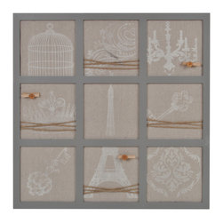 Lightaccents - Wall Decor Collection Distressed Wood Wall Memo Bulletin Board  (Grey) - Antique Wooden Finish gives this clip board a old world French country feel. Nine Pin able square areas decorated in traditional French iconic images are printed on the fabric, this message holder immediately gives your room French country character.
