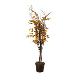 Vickerman - 5' Natural Golden Birch - 5' Natural Golden Birch Tree with 3 or more Birch branches, Rattan container, American made excelsior