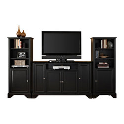 """Crosley - LaFayette 60"""" TV Stand and Two 60"""" Audio Piers in Black Finish - Our 60"""" TV stand and audio pier combination offers a unique solution for both display and storage. Extremely versatile, this combo features adjustable shelves allowing you to effortlessly organize by design. Two audio piers save space yet provide abundant storage options, while the TV stand offers a cord management system that tames the unsightly mess of tangled wires."""