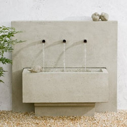 X3 Garden Fountain - The X3 Garden Fountain is very unique, combining bold lines and geometric shapes with the soothing sounds of streaming water. The X3 fountain is a contemporary work of art that relaxes the soul as much as it amazes the eyes. This fountain is definite to become the focal piece in your garden or patio.