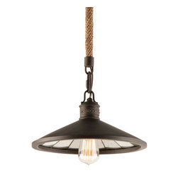 Troy Lighting - Troy Lighting F3144 Brooklyn 1 Light Industrial Pendant - Everything that defines the cutting edge look of the Brooklyn 1 Light Pendant is crafted with care and sleekness in mind. From the single Edison bulb to the custom hand applied Brooklyn bronze finish, it is the finest in contemporary hip design in one place. Accented with a charming rope section on the chain, it is simply perfect for any island, nook, caf� space, and more. This pendant is an elegant nod to the notion of cool.The lights of the Brooklyn Collection have an old fashioned charm and unique antique mirror glass reflecting panels.Troy Lighting F3144 Features: