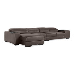 Zuri Furniture - Dutch Leather Sectional - Left Configuration - High quality leather and design describe the Dutch sofa. With it's modular components you can make it the perfect part of your living room.