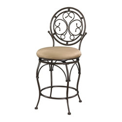 Powell Furniture - Big and Tall Scroll Circle Back Counter Stool - A scroll design adds elegance to the metal stool. . Extra Wide Seat and Tall Back . Counter Stool Height.  Bronze Finish. 400 Pound Weight Limit. 19 in. L x 20 in. W x 42.5 in. H (28 lbs.)The Big and Tall Scroll Circle Back Counter Stool has an elegant design and style. The stool features a warm bronze finish and a plush tan upholstered seat. Designed to suit people large and small, the seat is a generous size for optimal comfort. The tall back features an eyecatching scroll design. Perfectly suited for a kitchen counter, island or high top table.