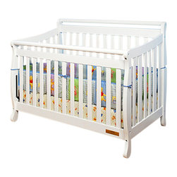 AFG Baby - AFG Baby Amy Convertible Crib with Toddler Rail in White - Featuring a round bar design across a sleigh style crib, the Amy 3 in 1 Convertible Crib combines timeless style and long-term durability into a popular crib with many standard features such as 4-level mattress support which can be adjusted throughout your baby's growth, solid wood construction, and toddler bed and full-size conversions. Wider, thicker slats on all sides of the crib lend durability to the entire crib structure. Guardrail included and full-size conversion rails sold separately. All Athena products meet and exceed the latest US safety standards. The Amy crib is a simple and charming crib perfect for your modern nursery.