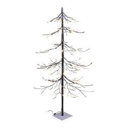 Lightshare - Lightshare Fir SnowTree: 10 Star Treetop Light, Warm White, 4ft 112 Lights - Description: