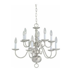 Sea Gull Lighting - 10-Light Chandelier Brushed Nickel - 3413-962 Sea Gull Lighting Traditional 10-Light Chandelier with a Brushed Nickel Finish