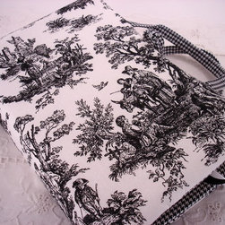 Black and White Country Rustic Toile Book Cover - This book cover made from the finest of decorator fabrics protects your hardbound or large softbound books. I have added two deep pockets on the inside to hold your pen, paper, and any important pamphlets. The book cover is sturdy with interfacing inserted to add more body.