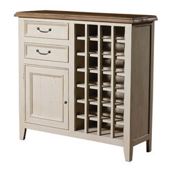 Four Hands - Cornwall Wine Cabinet - Keep your wine collection in a charming cabinet you'll be proud to display in your traditional home. Bench-built of reclaimed pine, the top has a sun-dried ash finish that contrasts beautifully with stucco white.