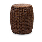 Tropical Veneta Woven Ottoman Accent Table - *Woven seagrass, bamboo and rattan create the natural look of the Veneta ottoman. Great for use as a side table, this ottoman adds a warm honey tone to any room.