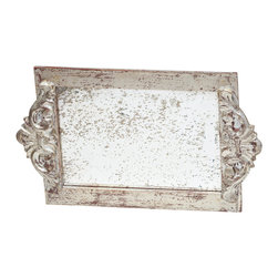 Abigails - Antiqued Mirror Silver Vanity Tray - Silver leaf with a soft subtle patina is the outstanding feature of this vanity tray. A nice faux antiqued mirror base is ideal to reflect all your special perfumes and lotions.