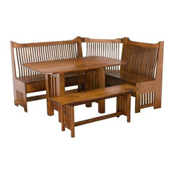 Amish Mission Breakfast Nook Set - This gorgeously handcrafted Amish Breakfast Nook Set is perfect for any meal of the day! This wonderful dining set is handcrafted by authentic Amish craftspeople and remains a favorite amongst our customers. Proudly handmade in the United States of America.