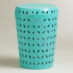 Baltic Blue Lili Punched Drum Stool - Wake up your space with this turquoise garden stool. Use it as a side table or accent piece anywhere in the house.